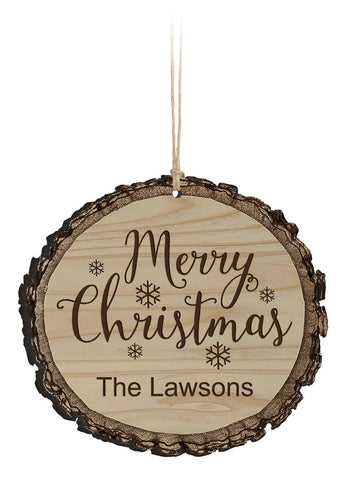 rustic wooden christmas ornament, custom engraving, merry christmas, rustic, gifts, hostess gift, baby's first christmas, our first christmas