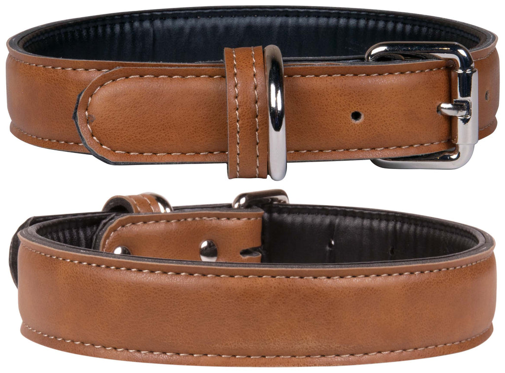 Tan Faux Leather Dog Collar