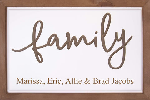 Family Carved Sign