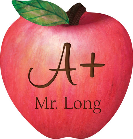 custom engraved wooden apple, teacher, teacher appreciation,