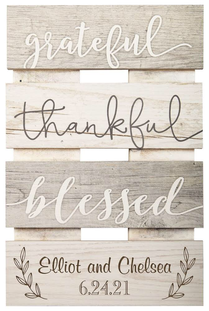 Grateful, Thankful, Blessed Plaque