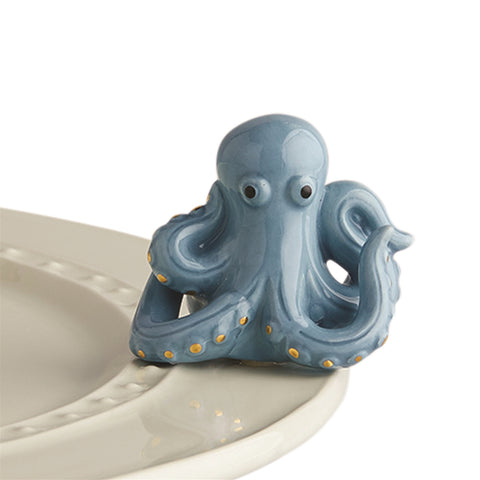 "Nora Fleming ""Nora Fleming Minis"" mini figure ceramic minis gift present octopus ""under the sea"" summer beach ocean sea creature animals aquarium boat sailing"