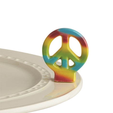 "Nora Fleming ""Nora Fleming Minis"" mini figure ceramic minis gift present peace sign tie dye hippie ""peace out"" 70s 60s"