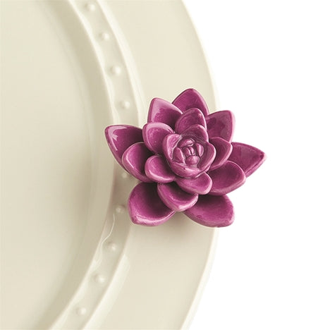 "Nora fleming mini mini figure ceramic minis gift present succulent purple flower ""get growing"" spring summer nature"