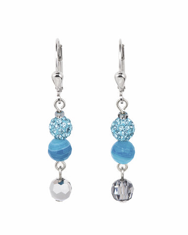 Coeur De Lion Earrings Multirow Swarovski® Crystals & striped agate turquoise