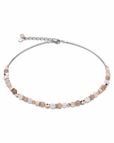 Necklace mother of pearl & Swarovski® Crystals & rose quartz & agate beige-rose