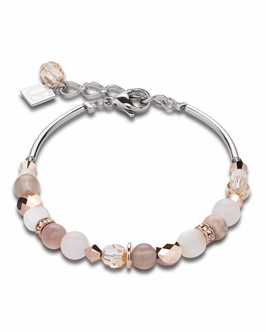 Coeur De Lion Bracelet mother of pearl & Swarovski® Crystals & rose quartz & agate beige-rose