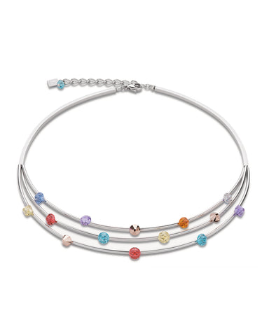 Coeur De Lion Necklace Multirow Swarovski® Crystals & stainless steel multicolour pastell fine