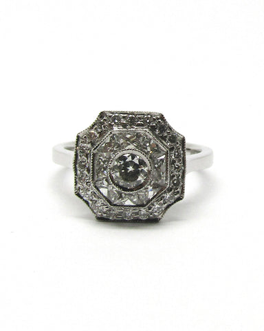 Platinum Art Deco Style Diamond Cluster Ring