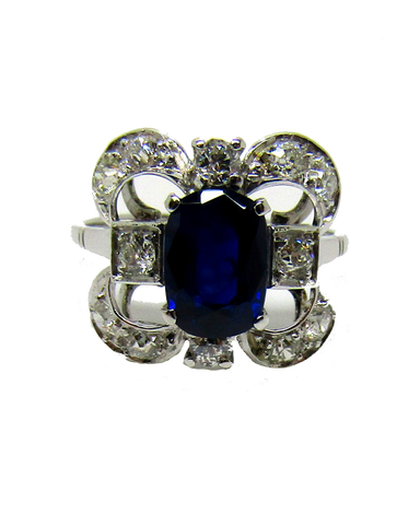 Platinum Sapphire and Diamond Vintage Style Cluster Ring