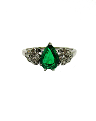 Platinum Pear Cut Emerald and Diamond Ring