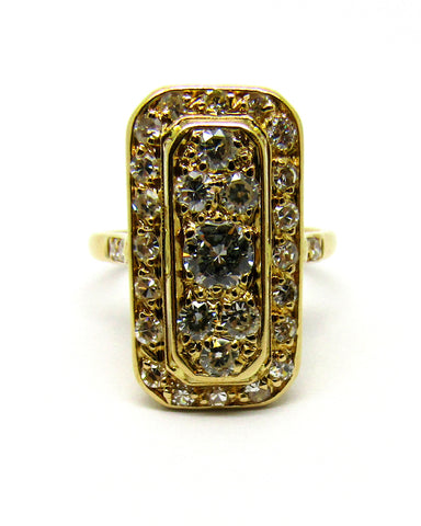Art Deco Style 22ct Yellow Gold Diamond Cluster Ring
