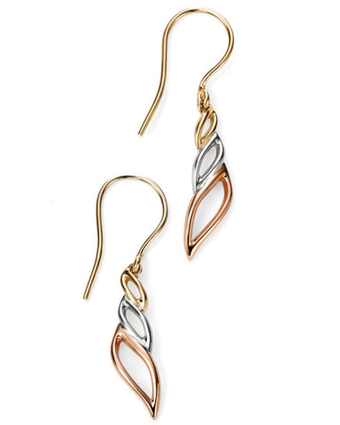 GE2016 9ct Rose, White and Yellow Gold Drop Earrings