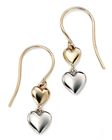 GE917 9ct White and Yellow Gold Heart Drop Earrings