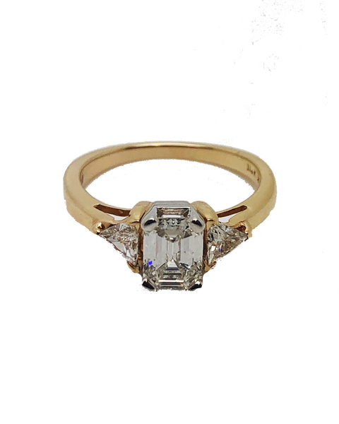 14ct Yellow Gold 3 Stone Emerald Cut Ring