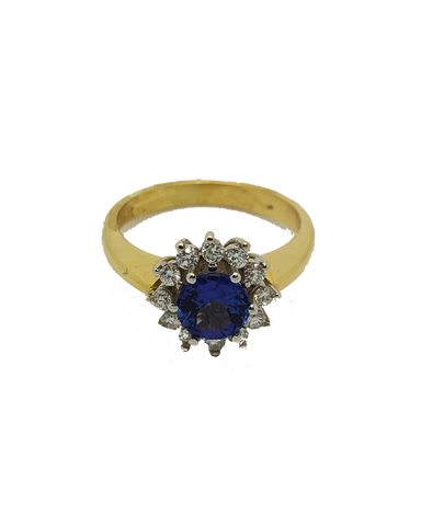 18ct Yellow Gold Tanzanite and Diamond Cluster Ring