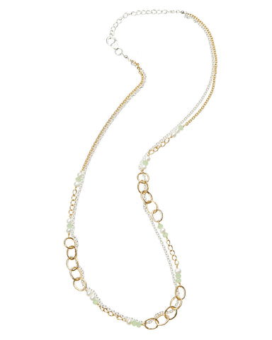 Nc2023 Banyan Two Tone Silver Necklace With Chalcedony & Pearl