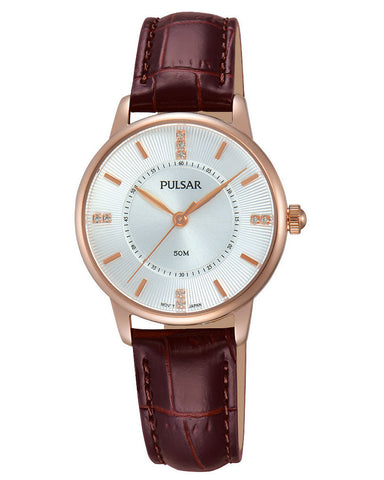 PH8180X1 Pulsar Ladies Dress Rose Gold Plated Brown Strap Watch