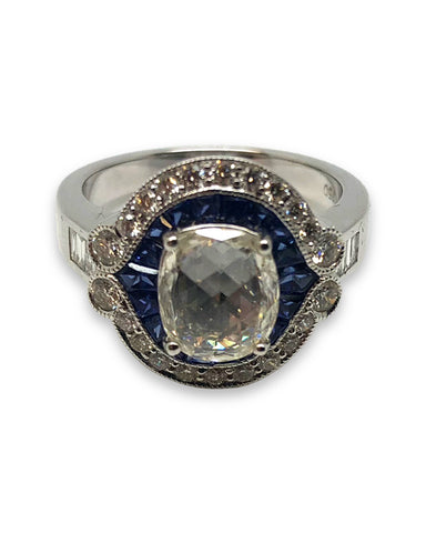 18ct White Gold Diamond & Sapphire Cluster Ring