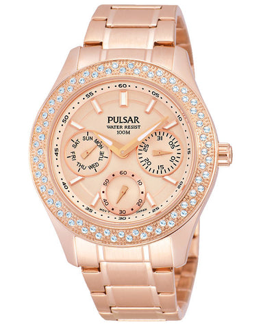 PP6120 Pulsar Ladies Multi Dial Rose Gold Plated Dress Watch