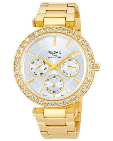 PP6160X1 Pulsar Ladies Multi Dial Gold Plated Dress Watch