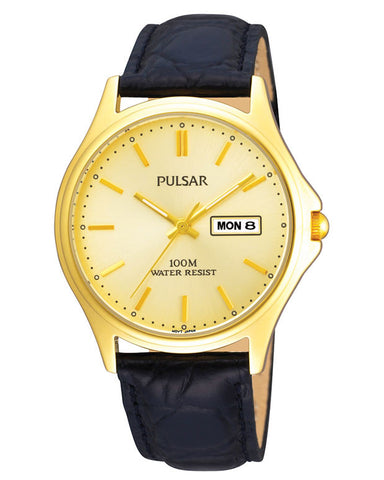 PXF296X1 Pulsar Gents Classic Gold Plated Black Leather Strap Watch