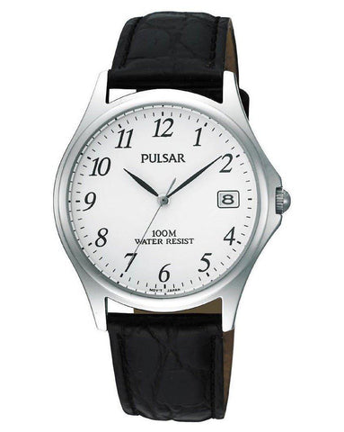 PXH565X1 Pulsar Gents Classic Black Leather Strap Watch
