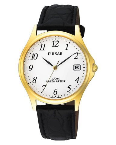PXH566X1 Pulsar Gents Classic Gold Plated Black Leather Strap Watch