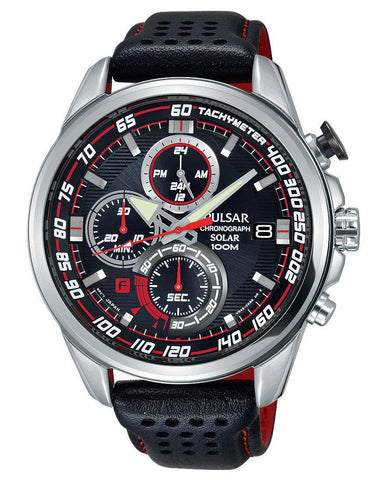 PZ6005X1 Pulsar Gents Solar Chronograph Black Sports Watch