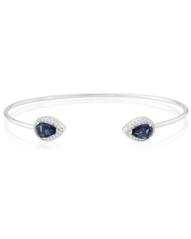 WB167 Waterford Silver Blue Teardrop Bangle