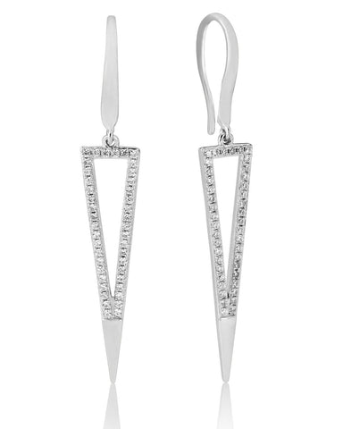 Waterford Silver Cubic Zirconia Triangle Drop Earrings