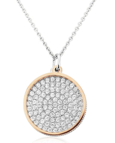 WP181 Waterford Silver Rose Gold Plated Circle and Disc Necklace