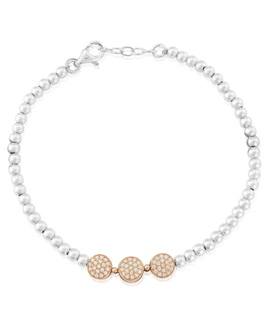 WW161 Waterford Silver Rose Gold Plated Triple Disc Beaded Bracelet