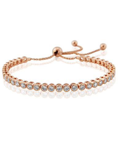 WW225 Waterford Silver Rose Gold Plated Rubover Contemporary Tennnis Bracelet