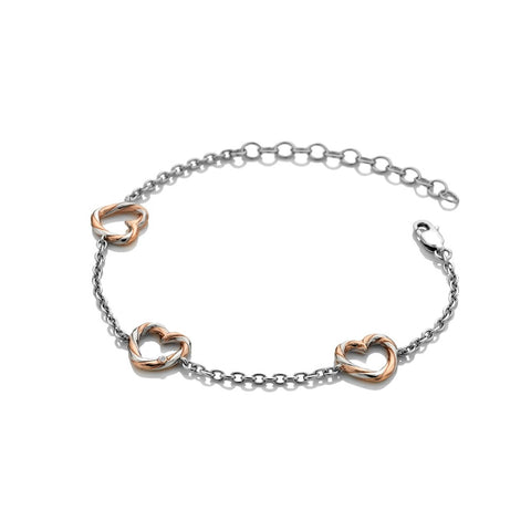 Hot Diamonds Breeze Heart Bracelet - Rose Gold Plated Accents