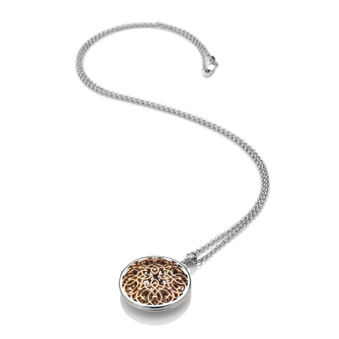 Hot Diamonds Large Circle Filigree Locket - Rose Gold Plate Accents