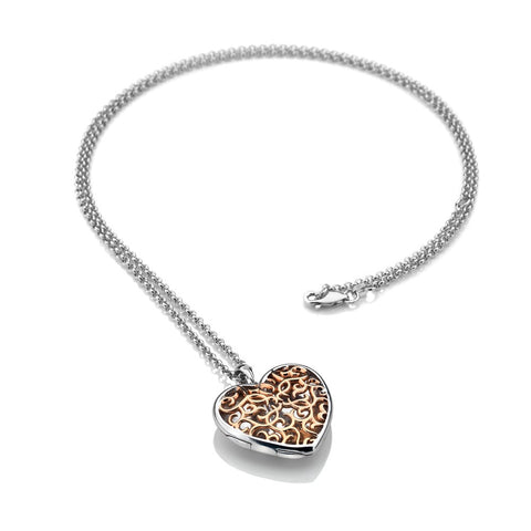 Hot Diamonds Large Heart Filigree Locket - Rose Gold Plate Accents