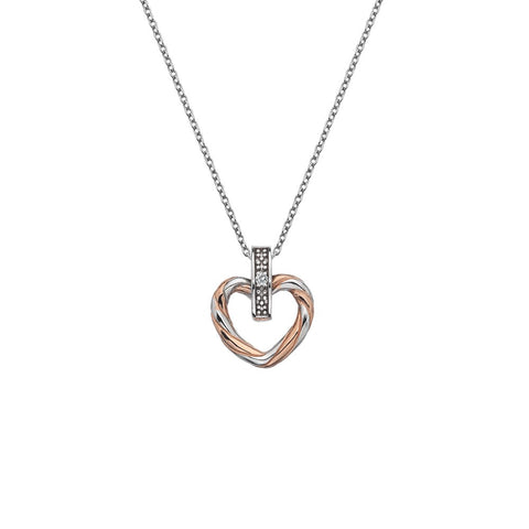 Hot Diamonds Breeze Heart Pendant - Rose Gold Plated Accents