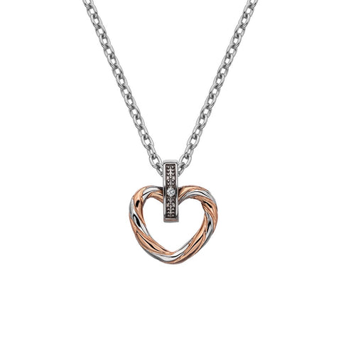 Hot Diamonds Large Breeze Heart Pendant - Rose Gold Plated Accents