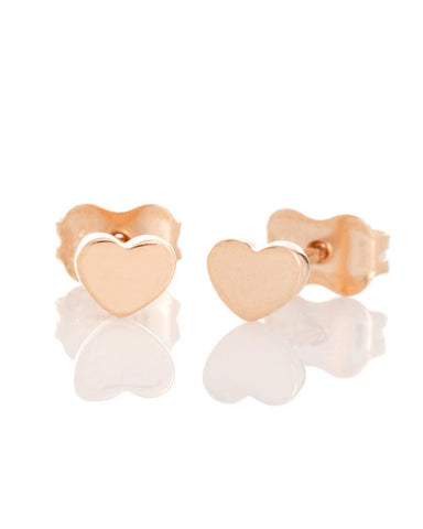GE2038 9ct Rose Gold Heart Stud Earrings