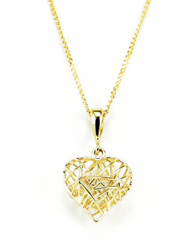 GP824 9ct Yellow Gold Caged Heart Pendant