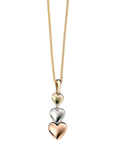 GP911 9ct Rose, White and Yellow Hearts Pendant