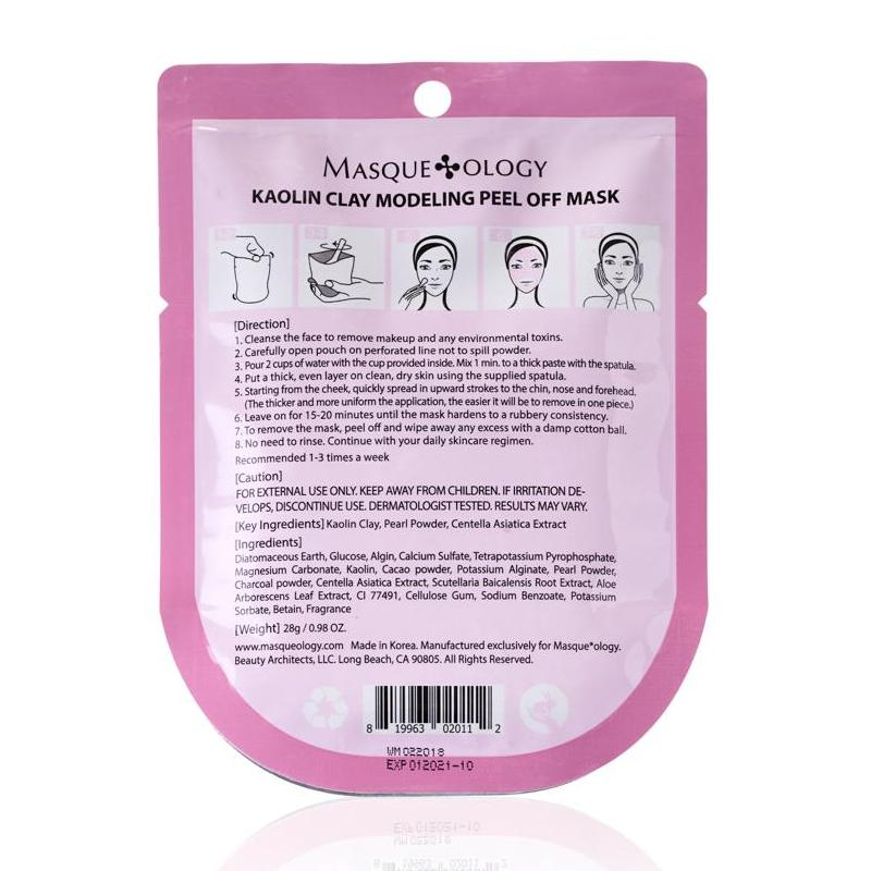 Kaolin Clay Modeling Peel Off mask with Pearl Powder by Masqueology