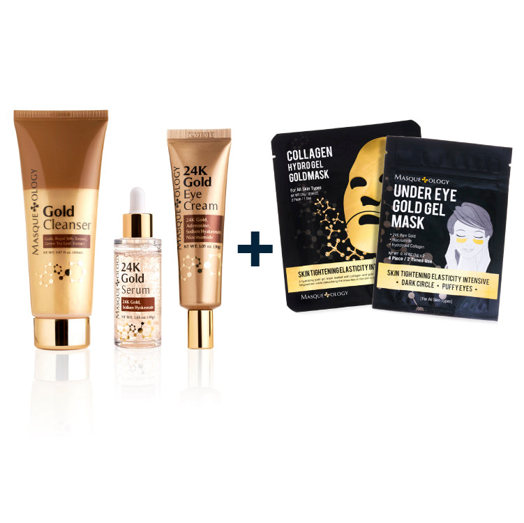 Gold Cleanser, 24K Gold Serum & Eye Cream + FREE Collagen Hydro Gel Mask & Under Eye Gold Gel Mask