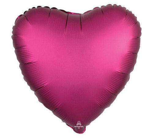 "17"" Solid Satin Luxe Sateen Heart- Pomegranate"