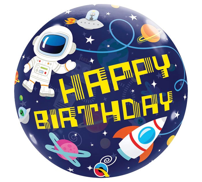 "22"" Outer Space Birthday Bubble Balloon-  (helium inflated)"