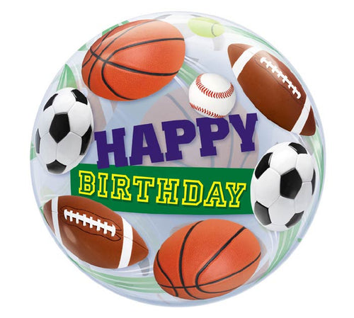 "22"" Sports Birthday Bubble Balloon-  (helium inflated)"