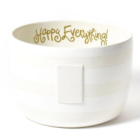 White Stripe Happy Everything Big Bowl