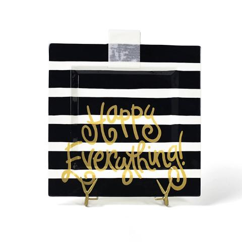Black Stripe Happy Everything Big Square Platter