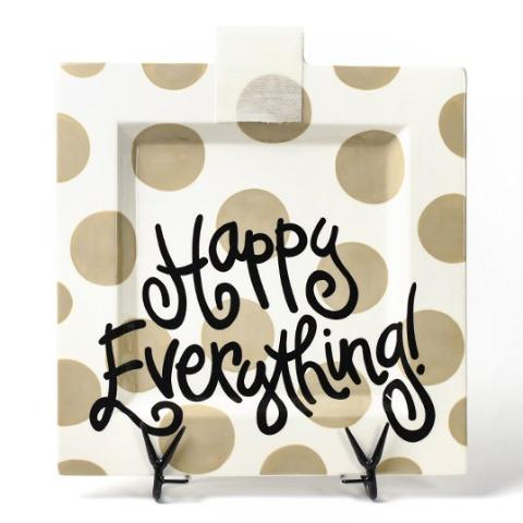 Neutral Dot Happy Everything Big Square Platter